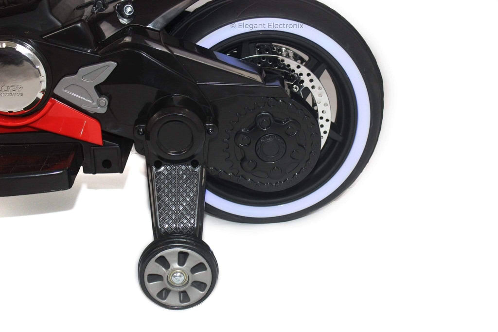 Ducati Style Motorcycle with LED Wheels Electric Ride on Bike 12V | Red - Elegant Electronix