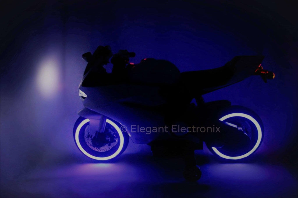 Ducati Style Motorcycle with LED Wheels Electric Ride on Bike 12V | White - Elegant Electronix
