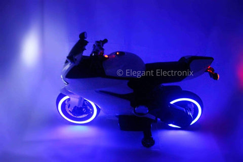 Image of Ducati Style Motorcycle with LED Wheels Electric Ride on Bike 12V | White - Elegant Electronix