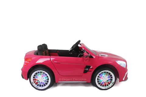Licensed Metallic Mercedes AMG with Touch Screen TV and Remote Control 12V | Hot Pink