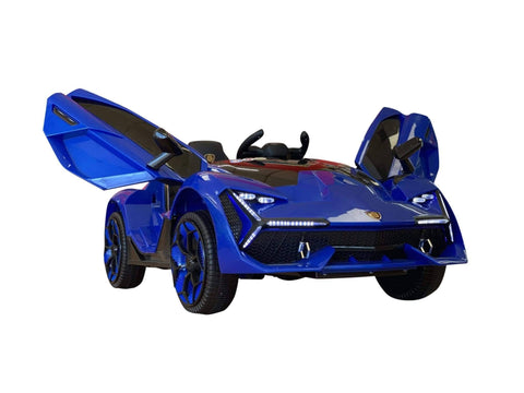 Image of Lambo Style Ride on Car with Parental Remote Control 12V | Blue - Elegant Electronix