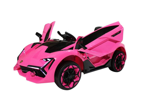 Image of Lambo Style Ride on Car with Parental Remote Control 12V | Pink - Elegant Electronix