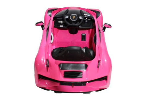 Lambo Style Ride on Car with Parental Remote Control 12V | Pink - Elegant Electronix