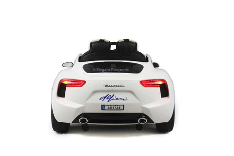 Licensed Maserati with Touchscreen TV RC Electric Ride on Car with Parental Remote Control 12V | White - Elegant Electronix