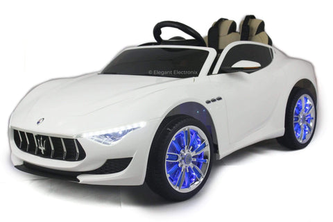 Image of Licensed Maserati with Touchscreen TV RC Electric Ride on Car with Parental Remote Control 12V | White - Elegant Electronix