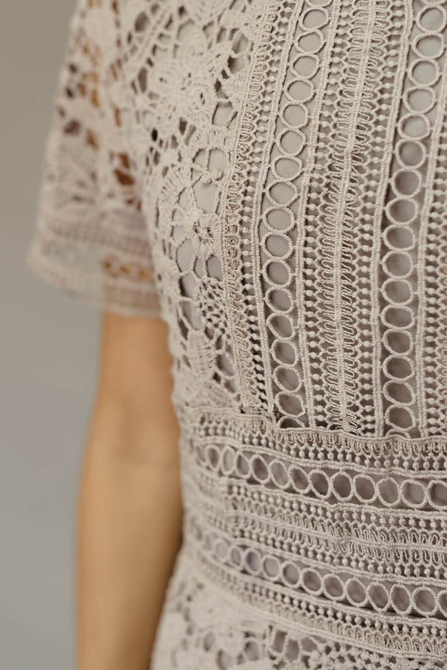 Zall Crochet Dress - Lilac Grey