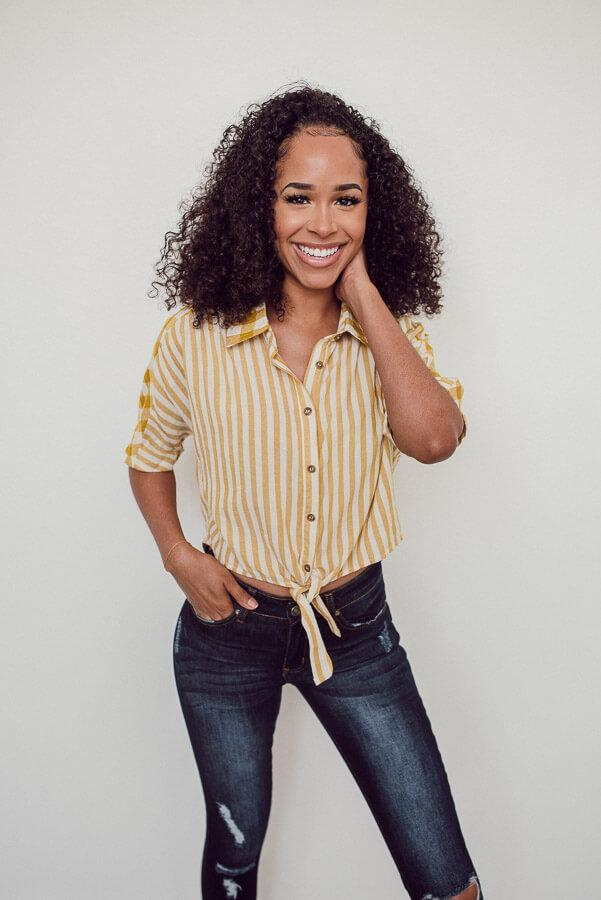 Success Stripes Blouse - Mustard
