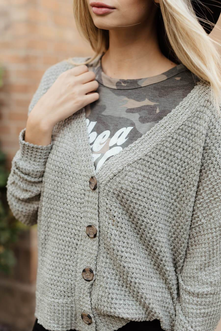 Wonder Waffle Cardigan - Heather Grey