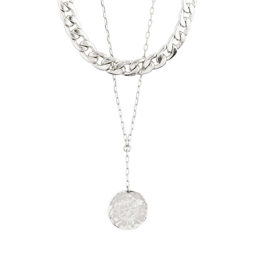 Necklace : Compass : Silver Plated