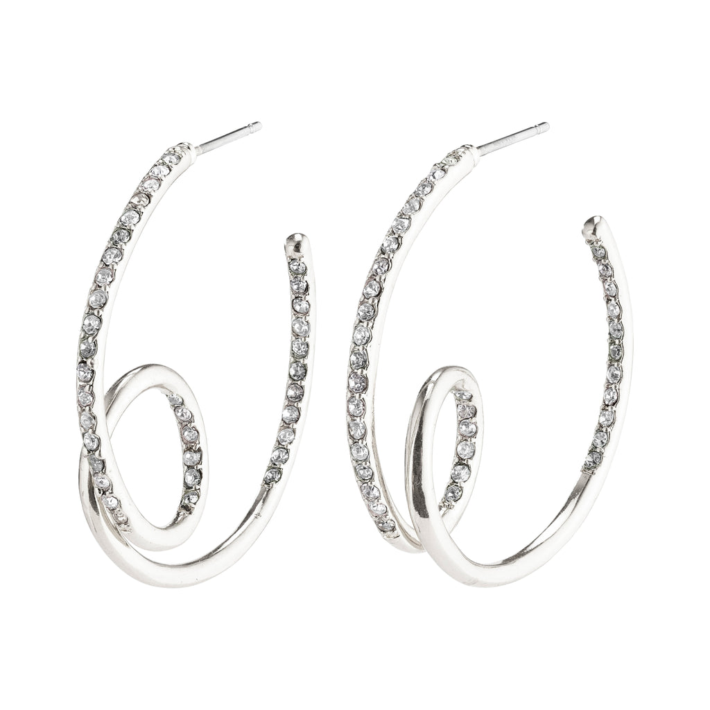 Earrings : Cherished : Silver Plated : Crystal