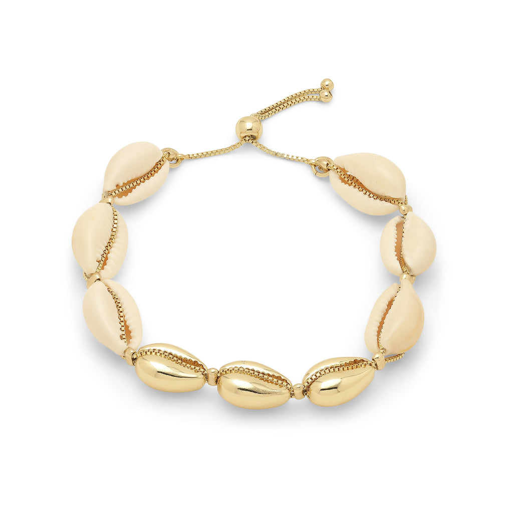 Bracelet : Aki : Gold Plated : White