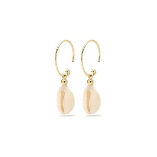 Earrings : Aki_PI : Gold Plated : White