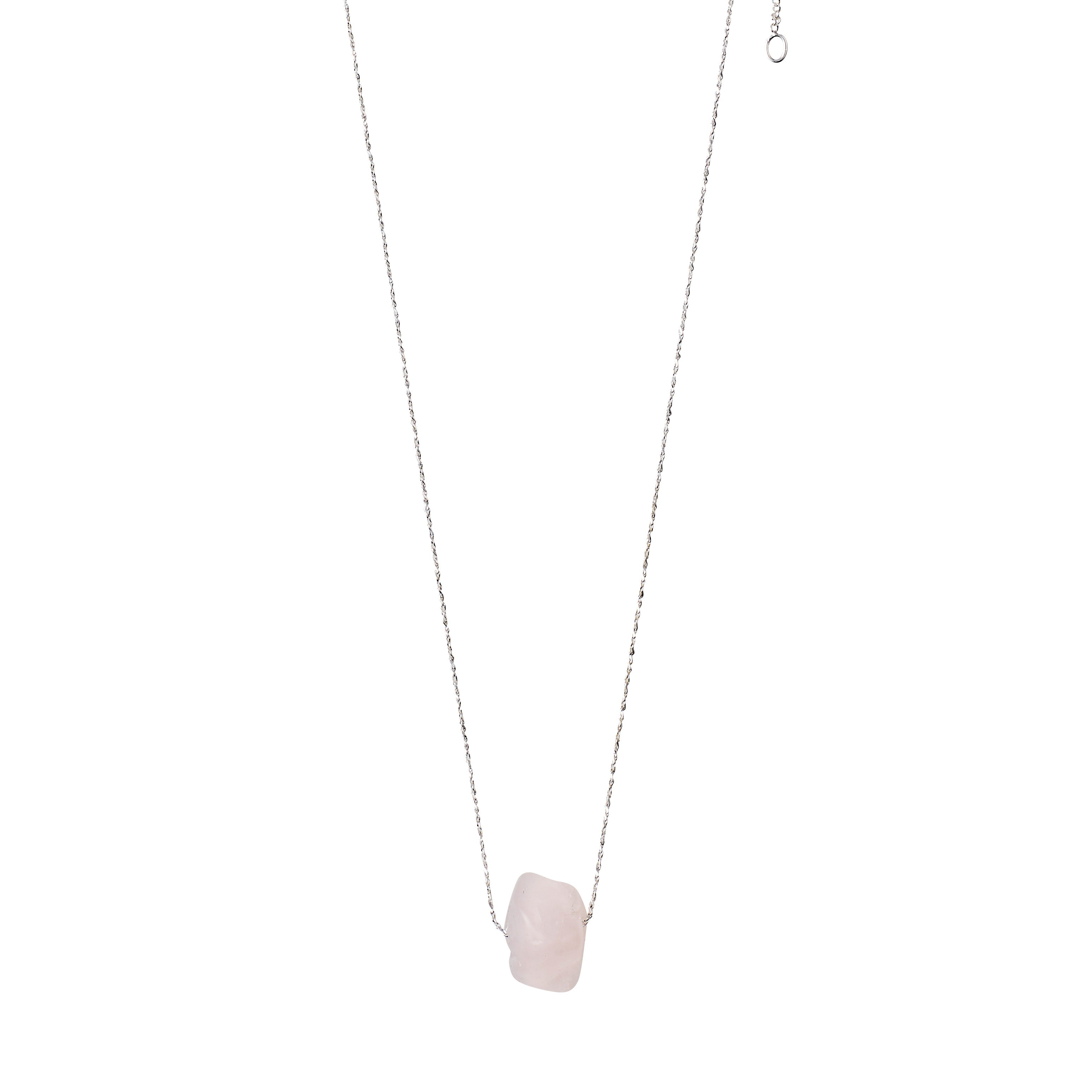 Necklace : Heart Chakra : Silver Plated : Rose Quartz