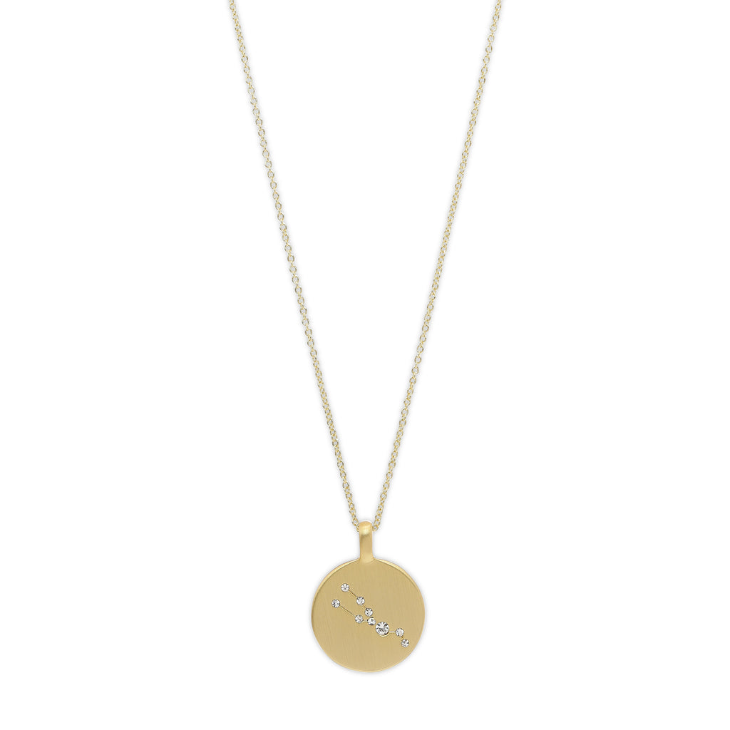 Necklace : Taurus Zodiac Sign : Gold Plated : Crystal