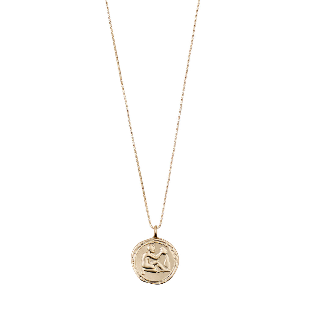 Necklace : Aquarius Zodiac Sign : Gold Plated : Multi