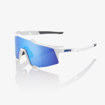 100% Speedcraft Sunglasses - Matte White (HiPER Blue Mirror Lens) - CCACHE