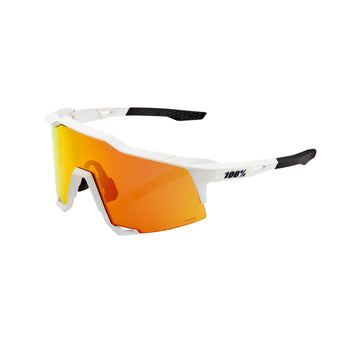 100% Speedcraft Sunglasses - Off White (HiPER Red Mirror Lens)