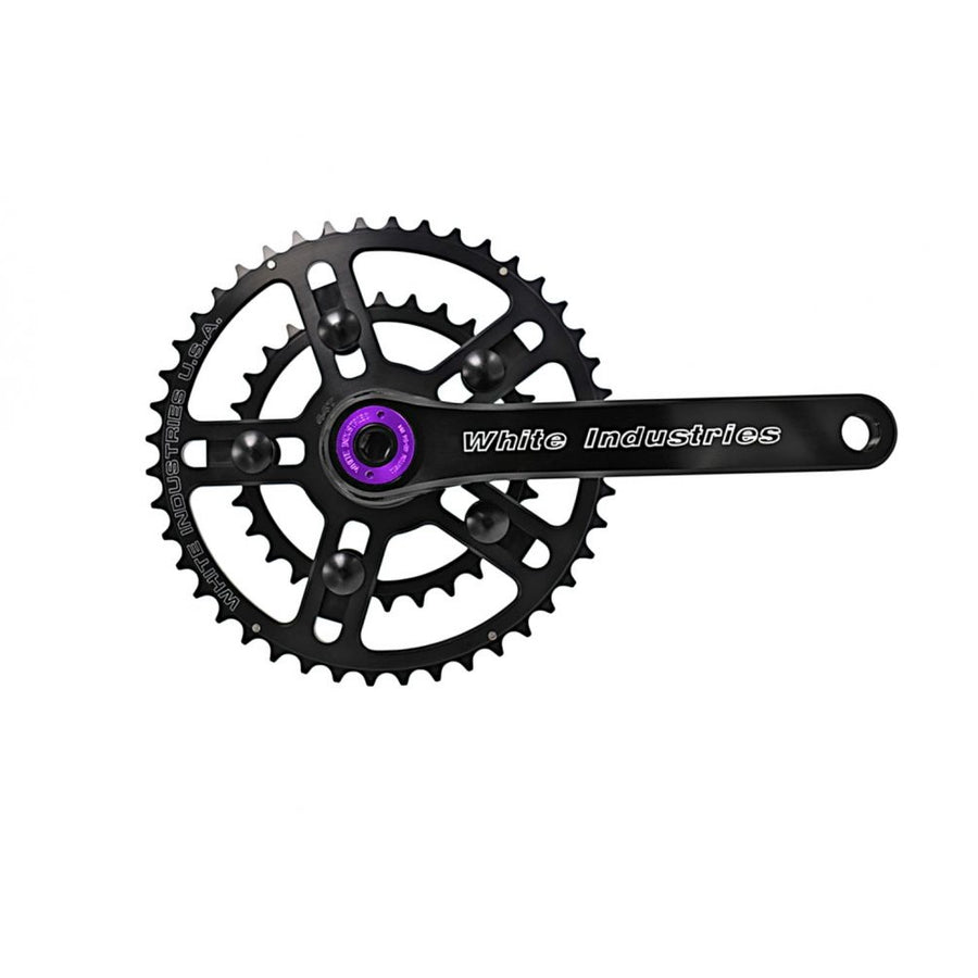 white-industries-r30-road-crank-arms-black-purple-extractor-closeup-assembled