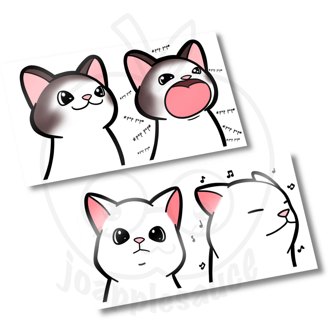 Pop Cat and Vibing Cat Sticker Sheets - [joapplesauce]