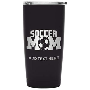 Grab A Smile Soccer Mom Insulated Stainless Steel Drink Tumbler - Engraved Travel Coffee Mug for Hot & Cold Drinks With BPA-Free Lid, incl. Custom Engraving, 20oz Black