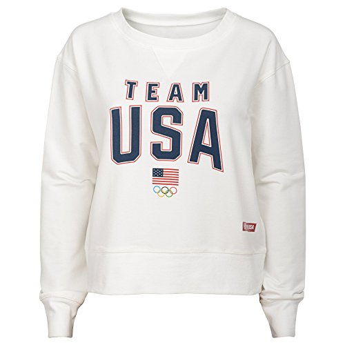 Team USA Olympics Women's The Main Event Crew Pullover, X-Large, Blanc De Blanc