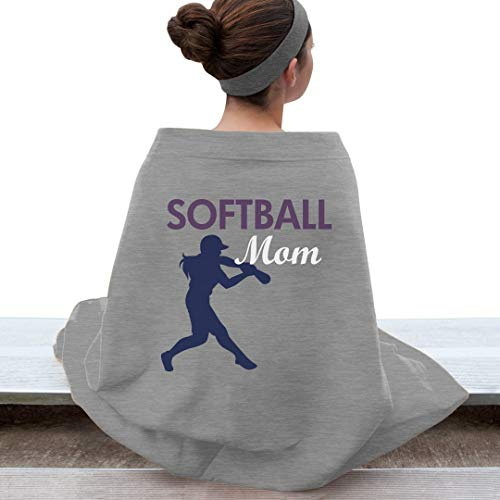 Customized Girl Softball Mom Blanket: Gildan DryBlend Stadium Blanket