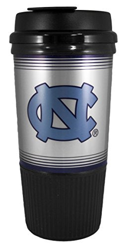 GameDay Novelty NCAA North Carolina Tarheels Insulated Platinum Gripper Travel Tumbler with No Spill Flip Lid, 16 oz