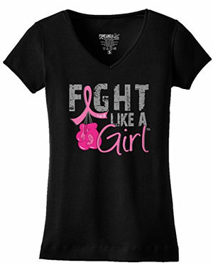 Fight Like a Girl Breast Cancer Boxing Gloves T-Shirt Ladies V-Neck Black w/Pink Ribbon [S]