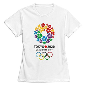 Teelife Slim Fit Women's Tokyo 2020 Olympic Logo Style T-Shirt White XX-large