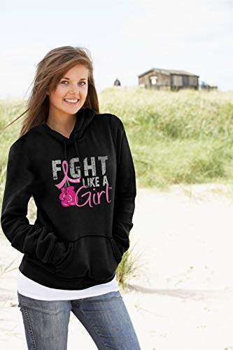 Fight Like a Girl Breast Cancer Boxing Glove Hoodie Unisex Black w/Pink Ribbon [M]