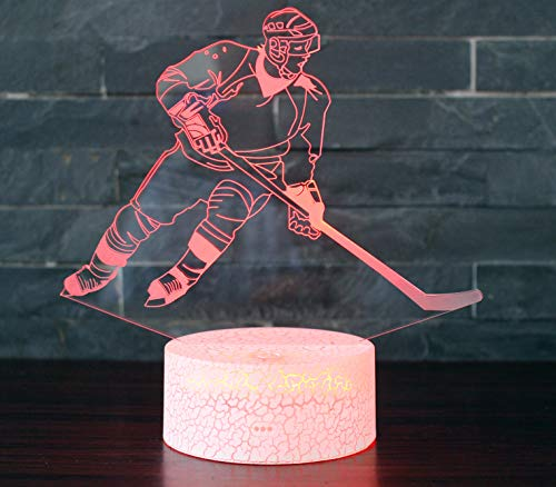 Hockey Night Light with 7 Colors Changing- LED 3D Optical Illusion Lamp for Kids Room Decor and Hockey Fans (Hockey)