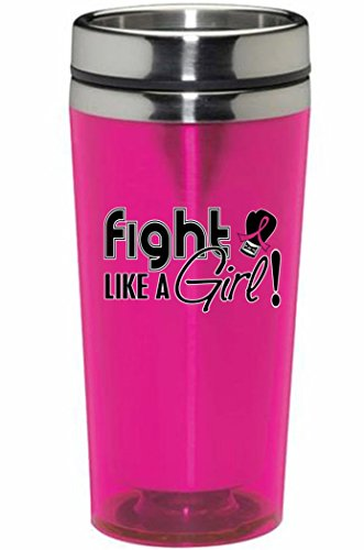 Fight Like a Girl Breast Cancer Awareness Stainless Steel and Acrylic Travel Tumbler / Mug