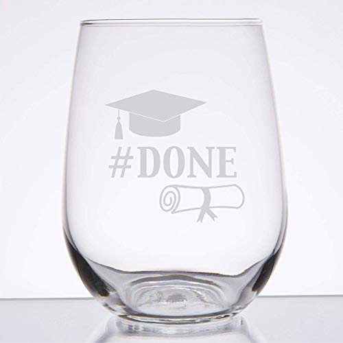 Engraved Graduation Party Stemless Wine Glass, College Graduation Gifts, Gift for Graduates, Grad Gifts, Done - SG33