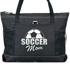 Soccer Mom Tote in White Silver Glitter on a Large Black Tote
