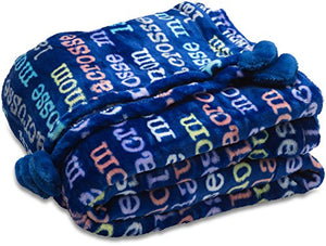 Pavilion Gift Company Mom Love Plush Lacrosse Mom Blanket 60 x 50, Solid, Navy Blue