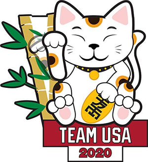 2020 Summer Olympics Tokyo Japan Team USA Lucky Cat Lapel Pin (Moving Paw)