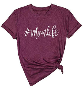 Mom Life Shirt Tired Mom Blessed Mama Graphic Tee Women Letter Print Loose Short Sleeve Tops Size L (Red Wine)