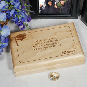 "GiftsForYouNow As The Tassel is Turned Graduation Valet Box, Cherry Wood 7½"" x 4¾"" x 1½"""
