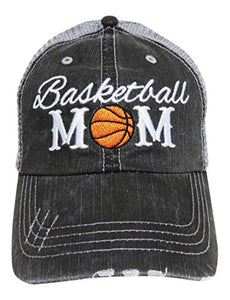 Embroidered Sports Mom Series Distressed Look Grey Trucker Cap Hat Sports (Basketball Mom)
