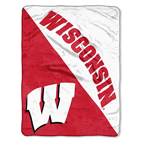 "Northwest Officially Licensed NCAA Wisconsin Badgers Halftone Micro Raschel Throw Blanket, 46"" x 60"""