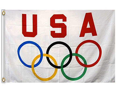 DANF 3' x 5' USA Olympics Game Flag Banner Durable Polyester with Brass Grommets