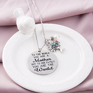 ELOI Family Tree Necklace with Birthstone Stainless Steel Pendant for Mom Grandmother