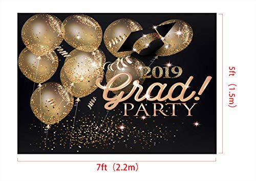 Kate 7x5ft/2.2x1.5m(W:2.2m H:1.5m) 2019 Graduation Ceremony Backdrop School Theme Backdrops Graduation Party Backgrounds Gold Bokeh Balloon Background