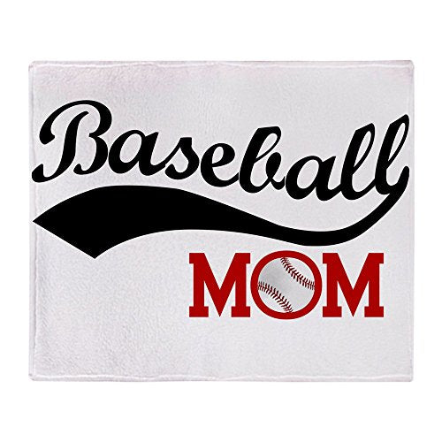 "CafePress Baseball Mom Red/Black Wave Soft Fleece Throw Blanket, 50""x60"" Stadium Blanket"