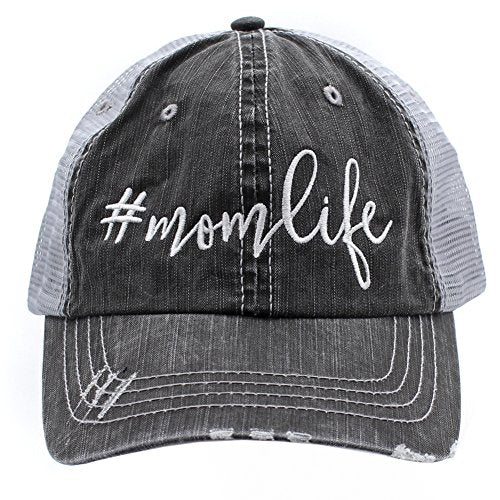 Mom Life Embroidered Trucker Style baseball Cap Hat (White/Emb)
