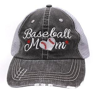 Baseball #Momlife Mom Love Heart Women Embroidered Trucker Style Cap Hat Grey