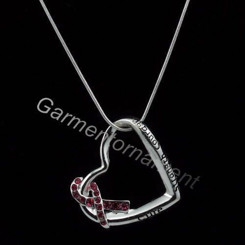 heart shaped with letter cure strength courage pink breast cancer awareness snake chain necklace