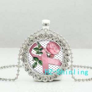 Pink Rose Breast Cancer Awareness Ribbon Necklace Pendant Jewelry