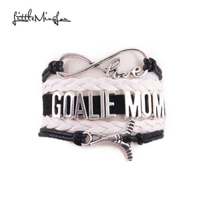 Little Minglou Infinity love GOALIE MOM Charm bracelet