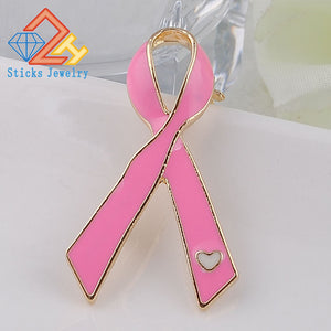 Pink Ribbon Brooch Breast Cancer Awareness Pin
